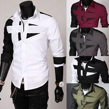 Men Fashion Luxury Dress Shirt Long Sleeve Tee Shirt Casual Slim Fit Stylish Top