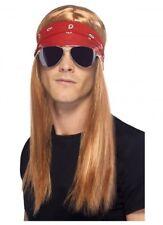 Axl Rose Wig Glasses Bandana 80's 90's Rocker Guns N Roses Costume Fancy Dress