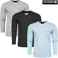Mens Dissident Long Sleeve Top T-shirt Fashion Y- Neck Casual Jersey WHYER