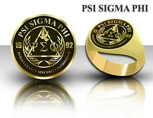 Psi Sigma Phi Fraternity Signet Ring Brass Gold Personalized