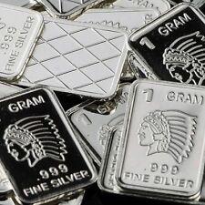 "Best Junk Drawer: 3x 1 Gram .999 Fine Solid Silver Art-Bars: 3 x "" INDIANS """