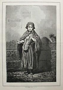 Musik, Strassenmusik, Geige, Geigerin -  Stich, Holzstich 1879