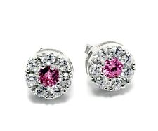 Pink CZ Earring 925 Sterling Silver Cubic Zirconia Jewelry Stud Solitaire Cute