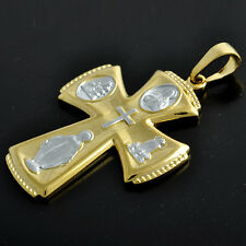Aqx001-9K yellow Solid Gold Plated 2-Tone Mens Womens large Silver Cross Pendant