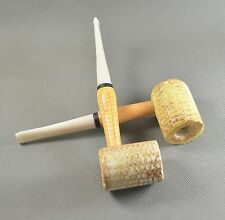 2PCS Handmade Reinforcement Natural Corn Cob Tobacco Smoking Pipes White Stem