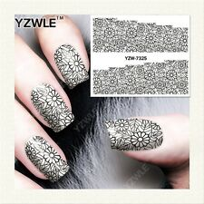 Full Wrap Water Transfers Nail Art Stickers Decals Black Lace Flowers (7325)