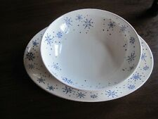 Anchor Hocking Blue Snowflake Serving Bowl and Platter