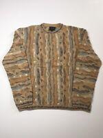 Vintage Coogi 3D Sweater 1XL Biggie Style Multi Color Made In Australia