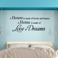 HOUSE MADE OF BRICK HOME LOVE AND DREAM DECAL MURAL WALL PAPER DECOR STICKER UK