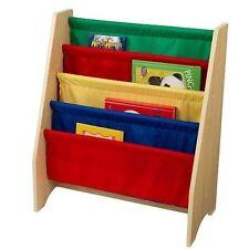 Kidkraft Primary Wooden 4 Tier Canvas Sling Bookshelf 14226