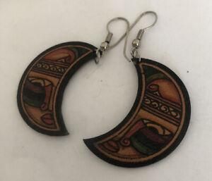 80s Vintage Moon Leather Painted Earrings