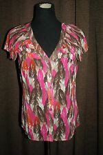 ~LADIES~EAST 5TH ~ SIZE L ~ SHEER~ BUTTON FRONT~ SHORT SLEEVES