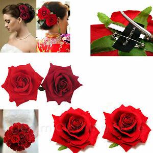 2pc Silk Red Rose Hair Flower Clips Bridal Hairpin Brooch Wedding Bridesmaid Lot