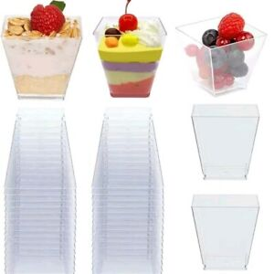 10~30pcs Plastic 2oz Mini Square Dessert Cups Clear Mousse Cups Shot Party Decor