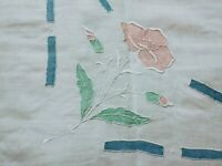 Madeira Cutwork, Embroidered and Applique Fine Linen Tablecloth 33 Inches