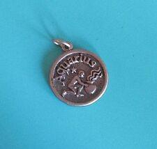 925 Sterling Silver Aquarius Zodiac Sign Pendant Charm Medallion