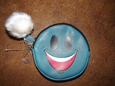 New Smiley Face blue zip change coin purse w detachable white dangle pom pom