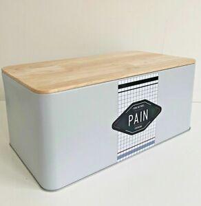Sale Brotkasten Brotbox PAIN Aufbewahrungskasten Brotbehälter Hygge grau