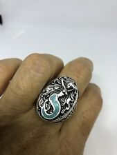 1980's Vintage Southwestern Silver Men's Turquoise Stone Inlay Mermaid Ring