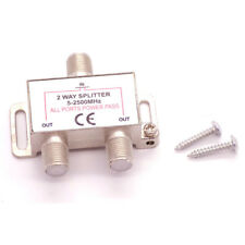 2 Way F Type Screw Connector Y Splitter TV Virgin Cable Sky Satellite Freeview