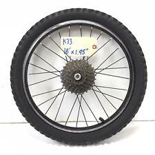 "18"" Rear Black Alloy Bicycle Wheel, 6-Speed Freewheel & 1.95"" Tire BMX Bike #k33"