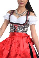 Germany,German,Trachten,May,Oktoberfest,Dirndl Dress,3-pc.Sz.14,Red,Silver,Black