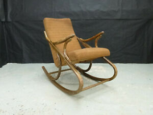 EB744 Czech Stained Beech Rocking Chair Retro Vintage Mid-Century Seating