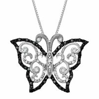 1/4 ct Black & White Diamond Butterfly Pendant in Sterling Silver