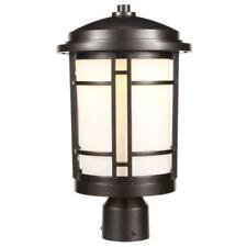 World Imports 9 in. Burnished Bronze Outdoor LED Post Light w/ White Opal Glass