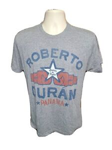 Roots of Fight Roberto Duran Panama Manos de Piedra Adult Small Gray TShirt