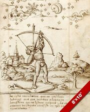 16TH CENTURY ARCHER SHOOTING AT HEAVEN FRENCH PAINTING ART REAL CANVAS PRINT