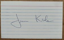 """Jim Krebs signed autographed 3x5"""" index card - VERY rare MPLS Lakers auto"""