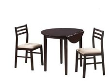 Casual 3 Piece Rich Cappuccino Finish Table and Chair Set by Coaster 130005