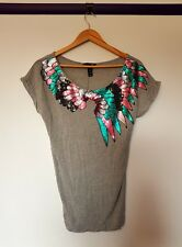 Hm womens size XS grey multicolored feather sequined short sleeve top