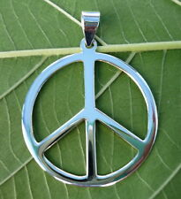 NEW 925 Sterling Silver Peace Sign Symbol Charm Necklace Pendants 31 mm width