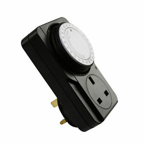 Premium Quality 24 Hour Mains Black Plug In Programmable Timer Security 13 Amp