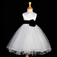 FLUFFY TULLE PRINCESS FLOWER GIRL DRESS CHILDREN BIRTHDAY PARTY WEDDING GOWN NEW