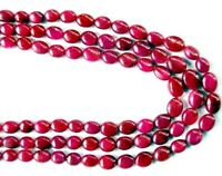 RUBY OVAL 12mm-9mm Long Plain Precious Ruby Gemstone Beads (Select-A-Size)