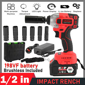 Impact Wrench Electric Cordless 1/2 Inch Driver Tool +Battery for Car Tyre Wheel
