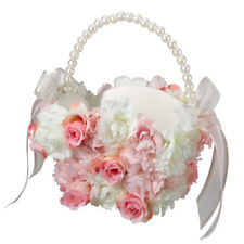 pink & white wedding flower girl basket