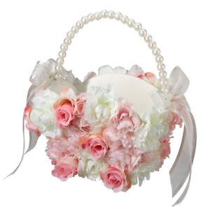 pink & white wedding flower girl basket