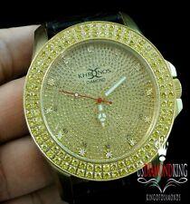 Men's 2 Row Canary Iced Out Bezel Khronos Joe Rodeo Genuine Diamond Watch Gold