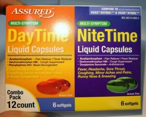 Assured Multi-Symptom Daytime and Nighttime Liquid Caps 12 Packs Combo softgels