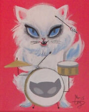 EL GATO GOMEZ RETRO VINTAGE ANGORA WHITE CAT ROCKABILLY KITSCHY 1950'S CARTOON