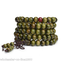 Sandalwood Buddhist Meditation 6mm*108 Prayer Bead Mala Bracelet/Necklace Green