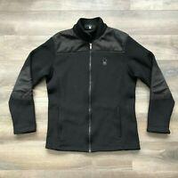 Men's SPYDER Foremost Black Full-Zip Heavy Fleece Lined Core Sweater Jacket L/G
