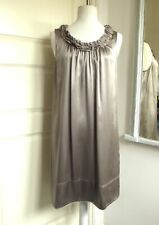 THE WHITE COMPANY Silk Dress Ruffle Neck Silver Evening Party Occasion UK 16