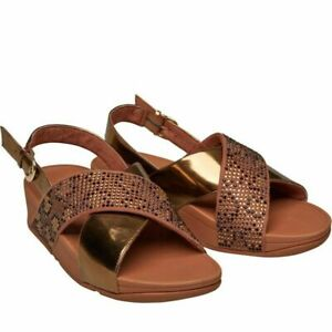 FITFLOP Womens Lulu Leopard Crystal Sandal Slide Sandals BRONZE ~UK 7 ~ NEW