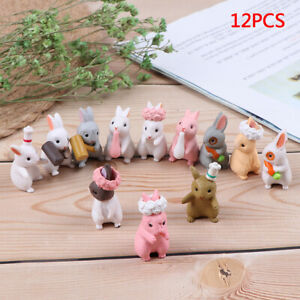 3pc/lot Cartoon Rabbit action Figures animal model Family Miniature Figurine  mi