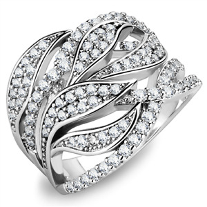 Ladies cz ring dome band cz silver rhodium handmade sparkling comfort clear 1466